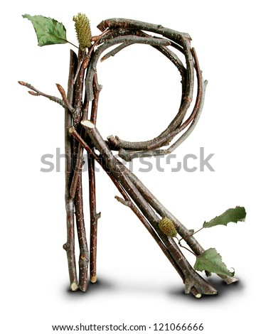 Photograph of Natural Twig and Stick Letter R - stock photo