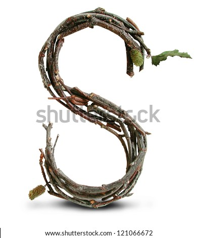 Photograph of Natural Twig and Stick Letter S - stock photo