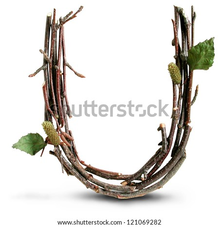 Photograph of Natural Twig and Stick Letter U - stock photo