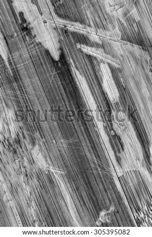 Photograph of obsolete old, weathered, varnished Wooden Laminated Panel, B&W, cracked, scratched, grunge texture.