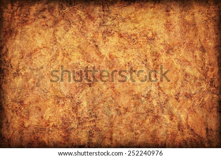 Photograph of old Recycle Kraft Brown Paper, coarse grain, crushed crumpled, mottled, vignette grunge texture sample. - stock photo