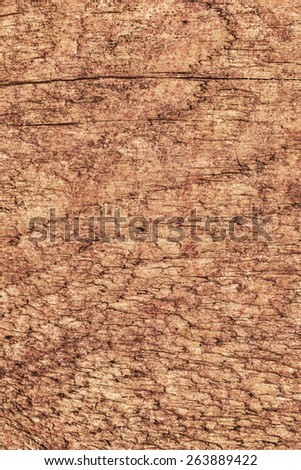 Photograph of old, roughly treated, weathered, cracked, knotted Pine plank, mottled, stained grunge texture.