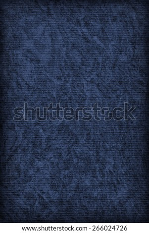 Photograph of Recycle Striped Marine Blue Pastel Paper, bleached, mottled, coarse grain, vignette grunge texture sample. - stock photo