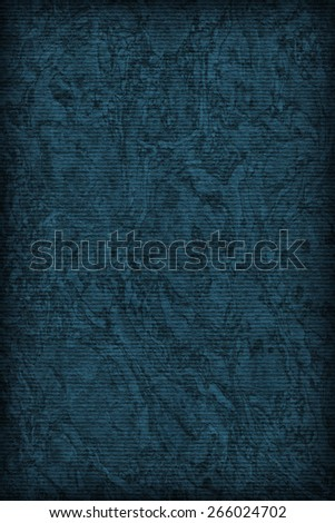 Photograph of Recycle Striped Navy Blue Pastel Paper, bleached, mottled, coarse grain, vignette grunge texture sample. - stock photo