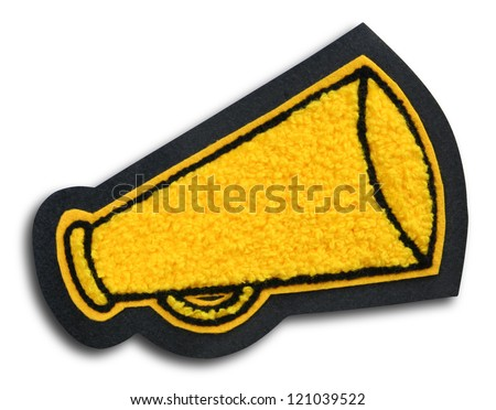 Photograph of School Sports Cheerleader Patch - Megaphone - stock photo