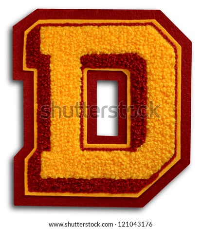 Photograph of School Sports Letter - Burgundy and Gold D - stock photo