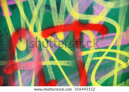 Photograph of urban collage background or graffiti paint texture - stock photo