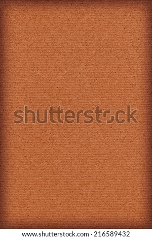 Photograph of vivid Red Ocher recycle striped paper, extra coarse grain, vignette, grunge texture sample. - stock photo