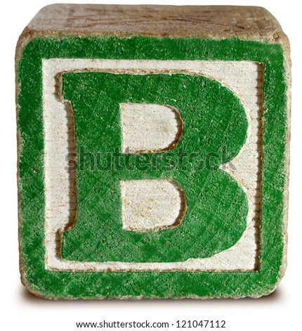 Letter B Old Wooden Painted Block Stock Shutterstock
