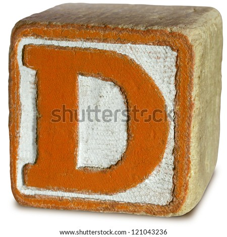Photograph of Wooden Block Letter D - stock photo