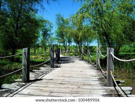 Photograph taken at the Blount Cultral Park, located in Montgomery, Alabama / A Bridge to Cross - stock photo