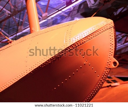 Photograph taken featuring a float of a vintage WWII seaplane (Point Cook Air Force Museum, Melbourne, Australia). - stock photo