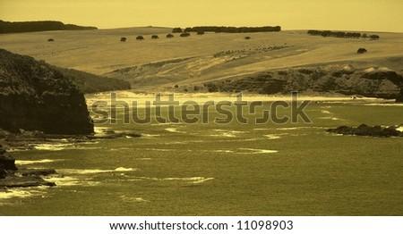 Photograph taken featuring dramatic coastal scenery at the Mornington Peninsula, Victoria, Australia. - stock photo