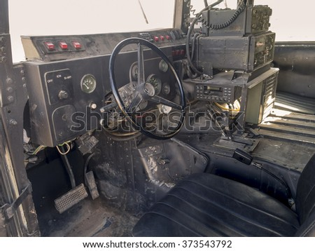 Photograph taken from inside a Humvee