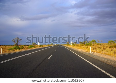 Photograph taken on the Sturt Highway in the Mallee Desert under a rare stormy sky (South Australia). - stock photo
