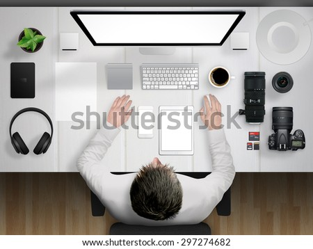 photographer and desk mockup scene with devices from top  - stock photo