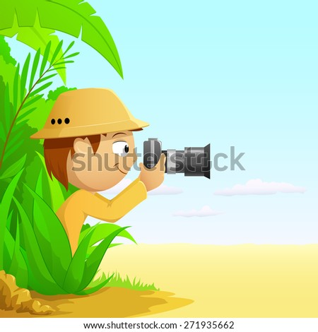 Photographer cartoon hunter in rainforest and desert. - stock photo