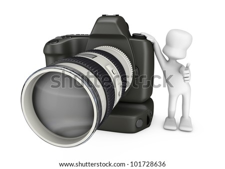 photographer doing OK and supported by a camera with a telephoto - stock photo