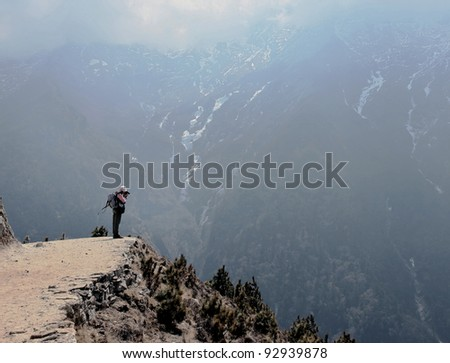 Photographer on the trek above Namche Bazar - Nepal, Himalayas