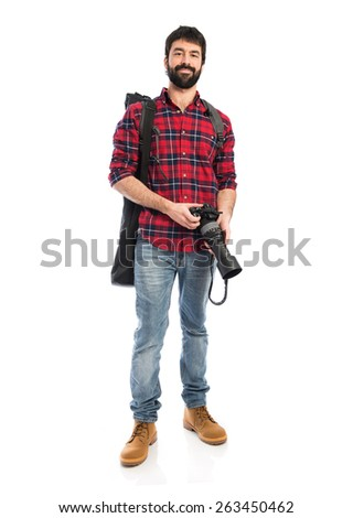 Photographer over white background - stock photo