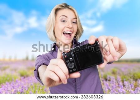 Photographer, Self Portrait, Camera. - stock photo