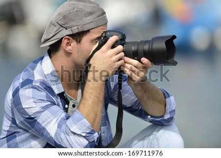 Photographer shooting outdoors scenery