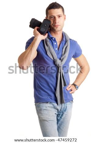 photographer waiting - stock photo