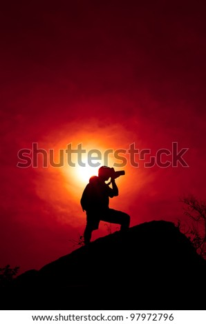 Photographer with sillouette in Hua Hin Beach