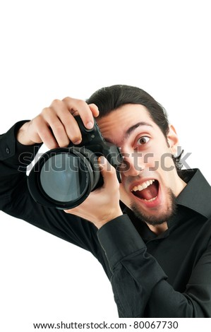 Photographer with the digital camera - stock photo