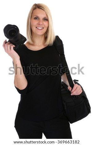 Photographer young woman photos with camera occupation hobby isolated on a white background