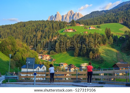 Photographers at sunset, Dolomites, South Tyrol, Italy