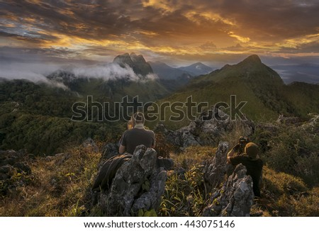 photographers taking photo of a mountain at Doi Luang Chiang Dao, Chiang Mai, Thailand,