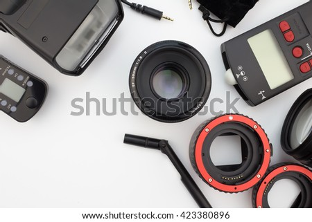 Photographic equipment close up isolated on white background