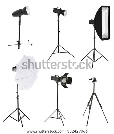 Photographic equipment isolated on white - stock photo