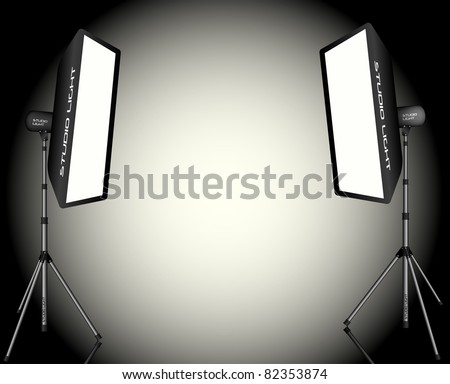 Photographic LIghting - Two Professional Studio Lights with Soft Boxes on Tripods - stock photo