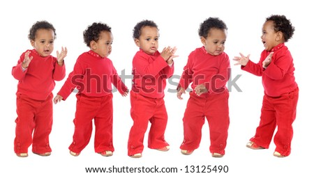 photographic sequence of a baby a over white background - stock photo