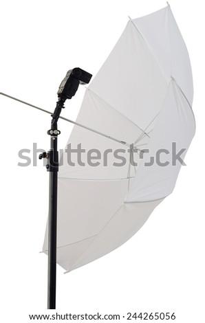 photographic umbrella strobe lighting and speedlight - stock photo