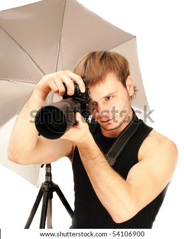 Photographing of model for a portfolio as a situation �Photographer� - stock photo