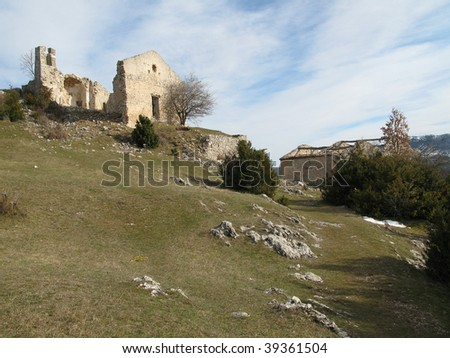 Photographs of the ruins of a given up village, natural reserve of the Verdon, the Alps of high Provence, France