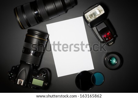 photography concept with dslr camera lense and copyspace - stock photo
