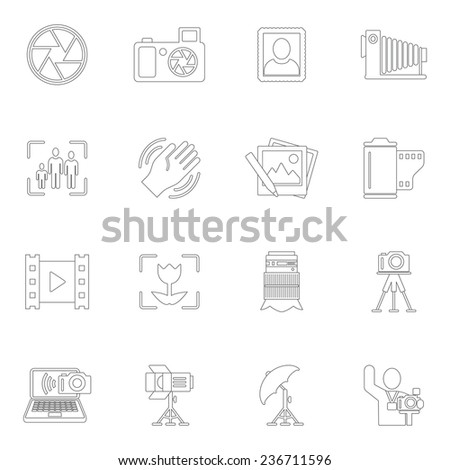 Photography equipment camera photo editing downloading icons outline isolated  illustration - stock photo