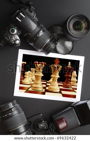 photography equipment like dslr camera  and image - stock photo