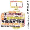Photography genre cloud-word composed in the shape of a dslr camera - stock vector
