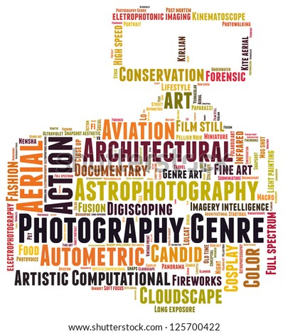 Photography genre cloud-word composed in the shape of a dslr camera - stock photo