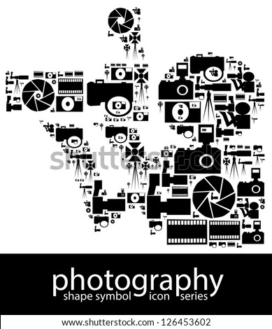 Photography icon symbols composed in the shape of a photographer with camera - stock photo