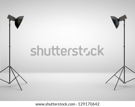 photography studio with a light set-up - stock photo