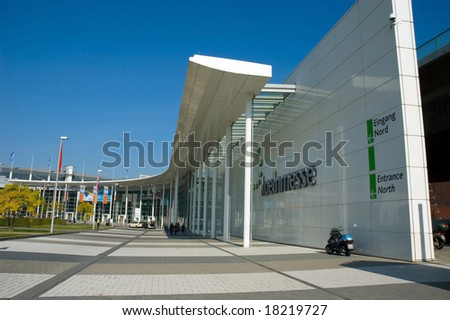 PHOTOKINA, COLOGNE - SEPTEMBER 28: Entrance door at Photokina - World of Imaging, Top Event for the Trade and User, September 28, 2008 in Cologne, Germany. - stock photo