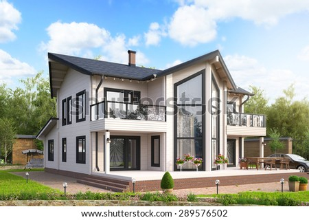 Photorealistic 3D render of a modern wooden house exterior - stock photo