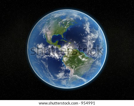 Photorealistic 3D rendering of planet earth viewed from space (America). - stock photo
