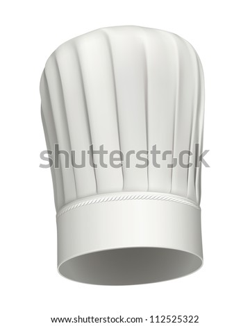 Photorealistic illustration of a white tall chef hat on white background - stock photo